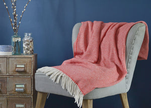 Coral Red Parquet Merino Lambswool Throw - buy at The British Blanket Company
