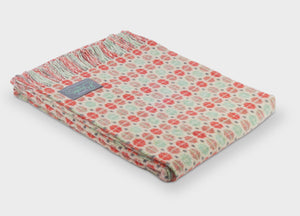 Coral and Mint Geo Merino Lambswool Throw - buy at The British Blanket Company