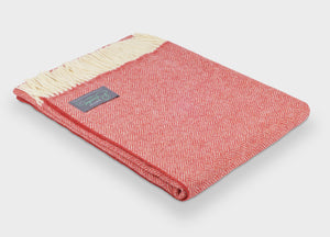 Coral Red Parquet Merino Lambswool Throw - The British Blanket Company