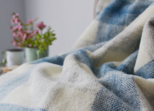 Blue Meadow Check throw - buy at The British Blanket Company