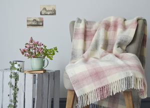 Pink Meadow Check throw - The British Blanket Company