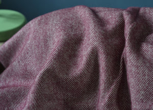 Damson Supersoft Merino Herringbone Throw - buy at The British Blanket Company