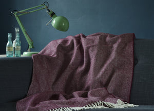 Damson Supersoft Merino Herringbone Throw - The British Blanket Company