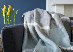 Duck Egg Blue and Grey Semaphore Throw