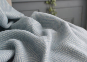 Duck Egg Blue Herringbone Armchair Throw - buy at The British Blanket Company