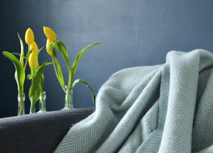 Duck Egg Blue Herringbone Throw - buy at The British Blanket Company