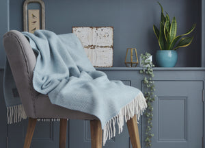 XL Duck Egg Blue Herringbone Throw