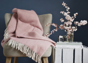 XL Dusky Pink and Pearl Herringbone Throw