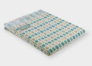 Eucalyptus Blue Geo Merino Lambswool Throw - The British Blanket Company