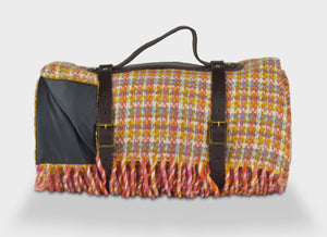 Woodstock Check Waterproof Picnic Blanket With Straps