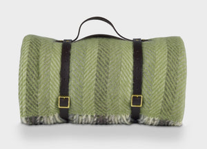 Green Multistripe Waterproof Picnic Blanket with Straps - buy at The British Blanket Company