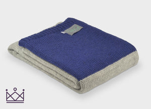 Navy Blue Panel Knitted Alpaca Throw - buy at The British Blanket Company