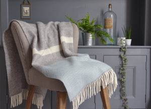 Duck Egg Blue Semaphore Armchair Throw - buy at The British Blanket Company