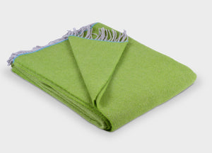 Green and Turquoise Edge Herringbone Throw - buy at The British Blanket Company