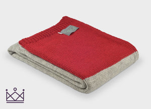 Red Panel Knitted Alpaca Throw - buy at The British Blanket Company