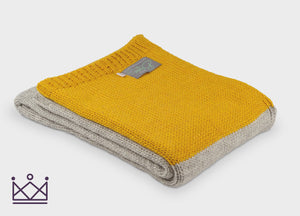 Mustard Panel Knitted Alpaca Throw - buy at The British Blanket Company