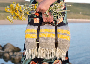Grey and Yellow Waterproof Picnic Blanket with Straps - The British Blanket Company