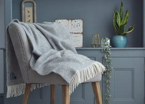Soft Grey Windmill Armchair Throw - The British Blanket Company