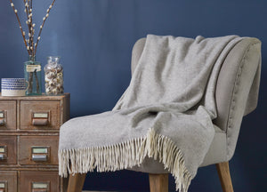 Dove Grey Parquet Merino Lambswool Throw - buy at The British Blanket Company