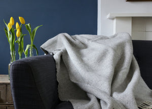Silver Grey Herringbone Throw - buy at The British Blanket Company