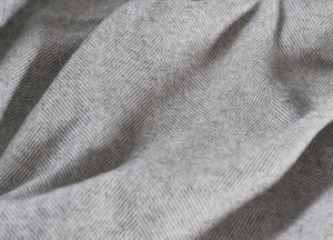 Uniform Grey Supersoft Merino Herringbone Throw - The British Blanket Company