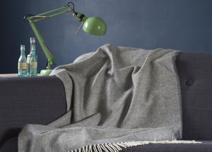 XL Uniform Grey Supersoft Merino Herringbone Throw - The British Blanket Company