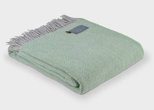 Laurel Green and Grey Herringbone throw - buy at The British Blanket Company