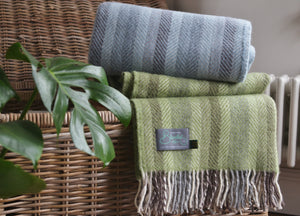 Soft Green Multistripe Herringbone Throw - buy at The British Blanket Company