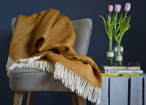 Mustard Yellow Herringbone Throw - The British Blanket Company