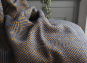 Navy Blue and Mustard Herringbone Armchair Throw - buy at The British Blanket Company