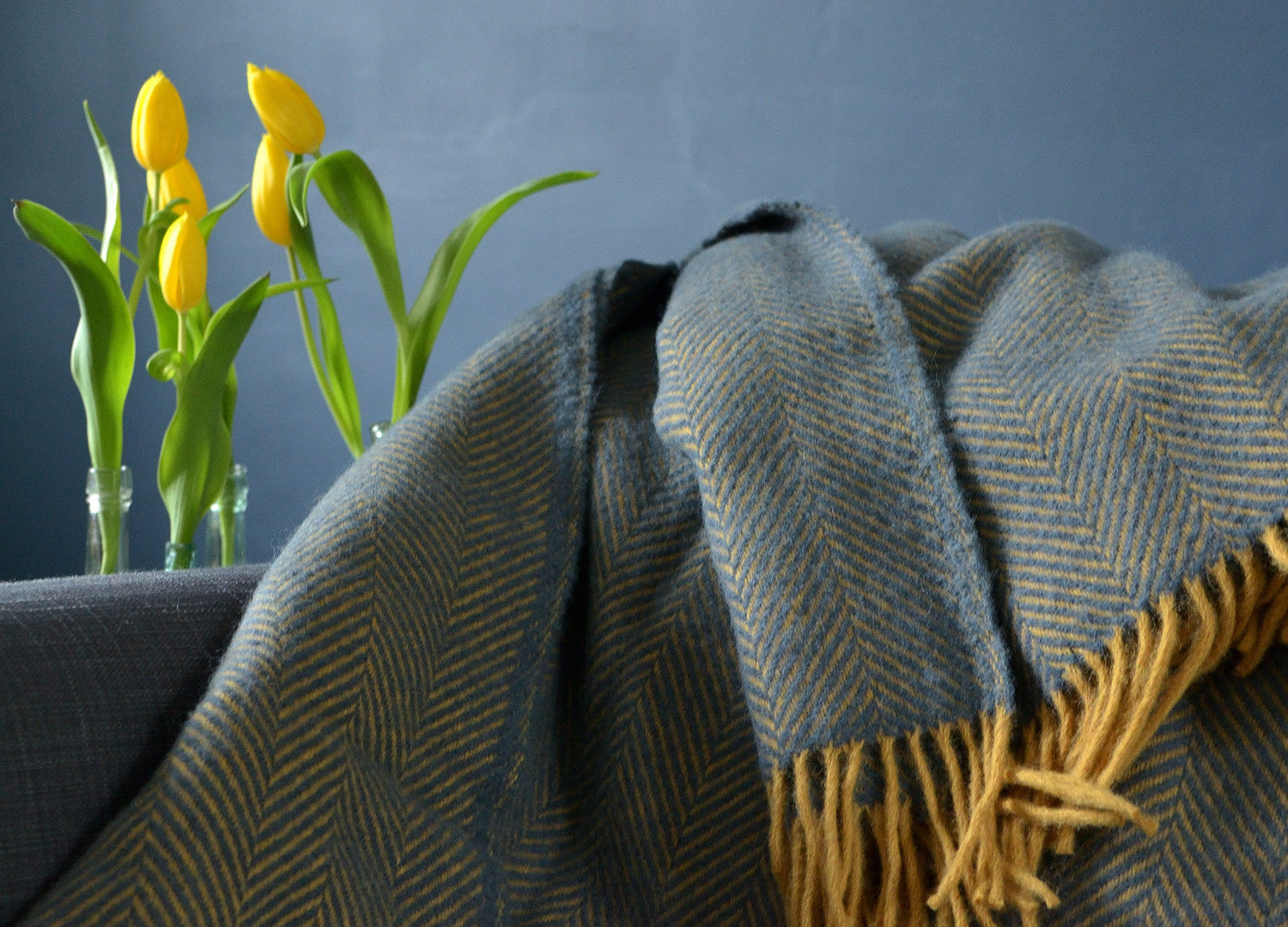 Navy Blue And Mustard Herringbone Throw - buy at The British Blanket Company af64719cd