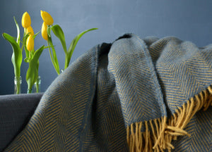 Navy Blue And Mustard Herringbone Throw - buy at The British Blanket Company