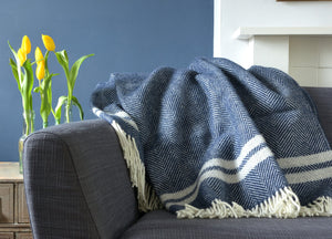 Navy Blue and Grey Herringbone Stripe Throw - buy at The British Blanket Company