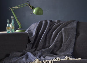 Navy Blue Supersoft Merino Herringbone Throw - The British Blanket Company