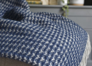 Navy Blue Treetop Throw - buy at The British Blanket Company