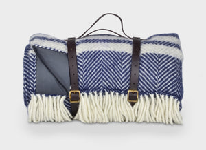 Navy Blue and Grey Waterproof Picnic Blanket With Straps - The British Blanket Company