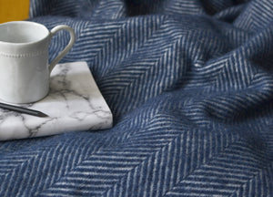 Navy Blue Herringbone Throw - buy at The British Blanket Company