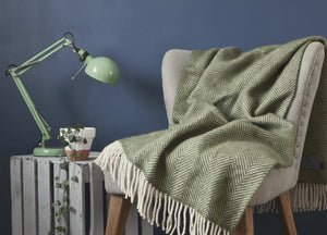 Olive Green Herringbone Armchair Throw - buy at The British Blanket Company