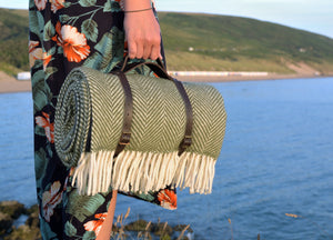 Olive Green  Waterproof Picnic Blanket with Straps - buy at The British Blanket Company