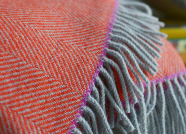 Orange And Fuchsia Edge Herringbone Throw The British