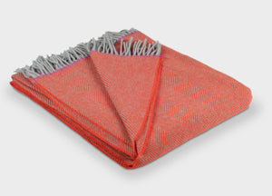 Orange and Fuchsia Edge Herringbone Throw