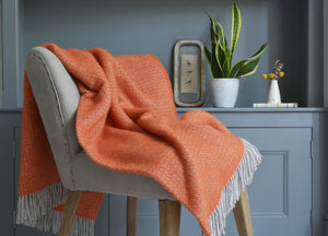 Orange and Grey Windmill Throw - The British Blanket Company