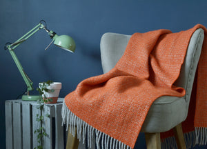 Orange and Grey Windmill Armchair Throw