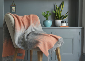 Orange and Grey Starry Night Throw - The British Blanket Company