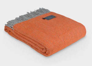 XL Orange and Grey Herringbone Throw