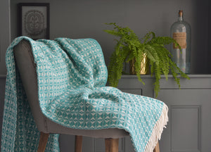 Peacock Blue Cobweave Throw - buy at The British Blanket Company