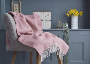 Dusky Pink and Pearl Herringbone Armchair Throw - buy at The British Blanket Company