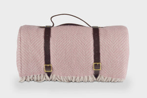 Dusky Pink Waterproof Picnic Blanket with Straps - buy at The British Blanket Company