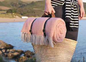 Dusky Pink Waterproof Picnic Blanket with Straps - The British Blanket Company