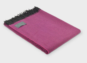 Foxglove Pink Herringbone Supersoft Merino Herringbone Throw - The British Blanket Company